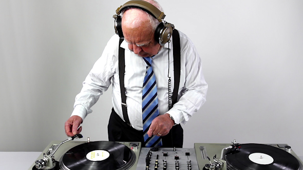 Very Funky Elderly Grandpa Dj Mixing Records 39