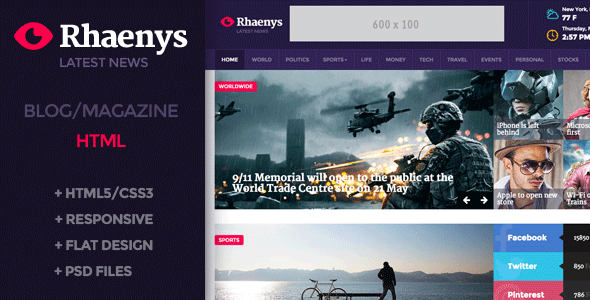 ThemeForest Rhaenys Magazine News Responsive Template 9966278