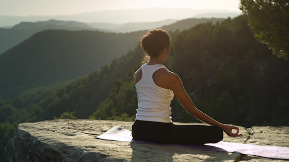 Yoga Teacher Amazing Sunset Mountain Clifftop 9