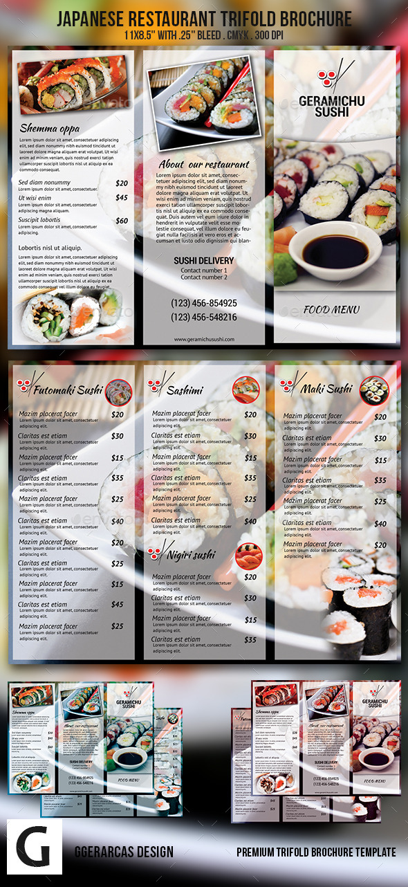 GraphicRiver Japanese Restaurant Trifold Brochure 9768459