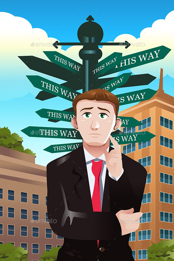 GraphicRiver Confused Businessman Under a Street Sign 10003037