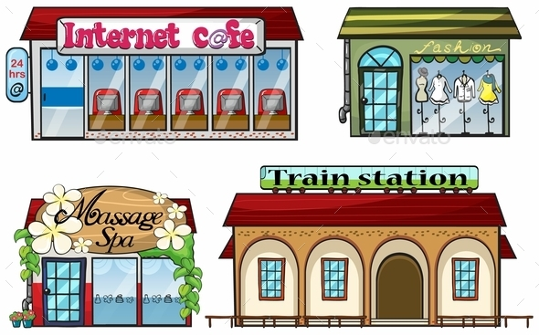 GraphicRiver Various Shops and a Train Station 10003405