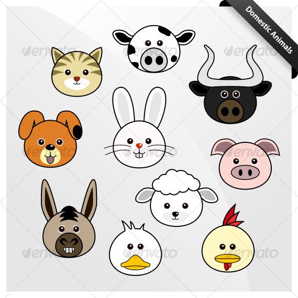 Domestic animal cute cartoon animals characters
