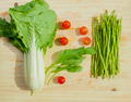 Asparagus, cherry tomatoes, bunches of bok choy - PhotoDune Item for Sale