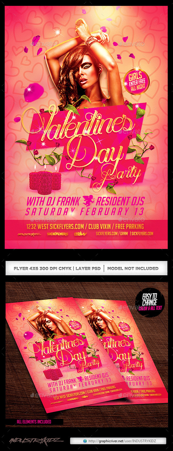 Valentines Party Flyer PSD