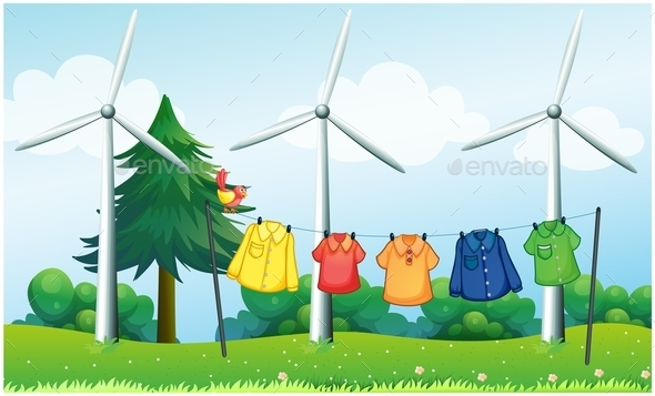GraphicRiver Hilltop with Hanging Clothes and Windmills 10004545