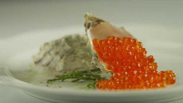 Serving Red Salmon Caviar with Seashells