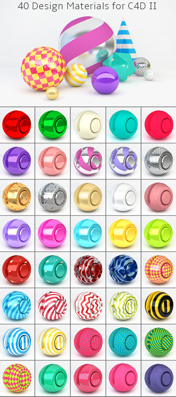 40 Design Materials for C4D II - 3DOcean Item for Sale