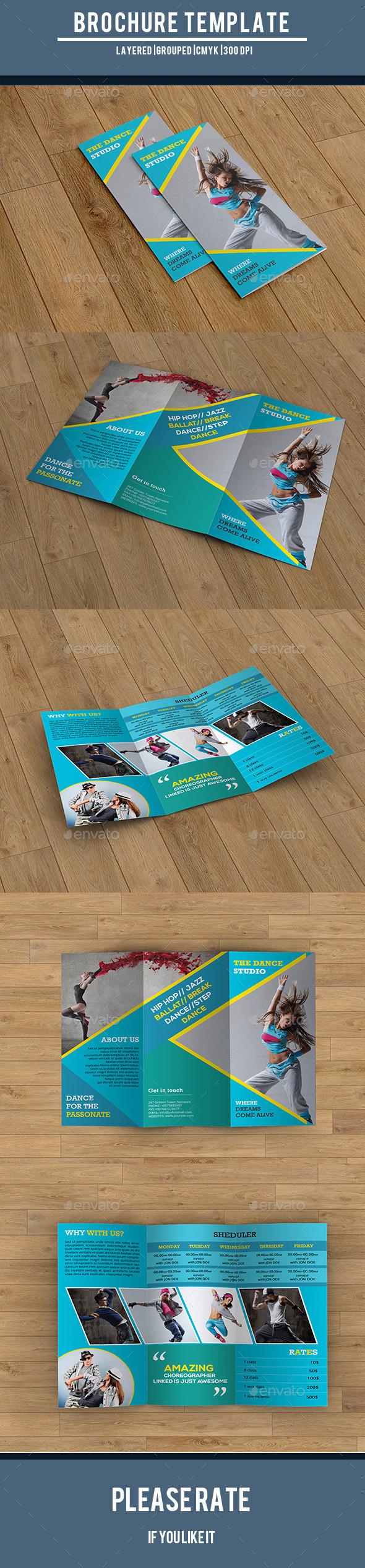 GraphicRiver Dance Studio Trifold Brochure-V214 10005999