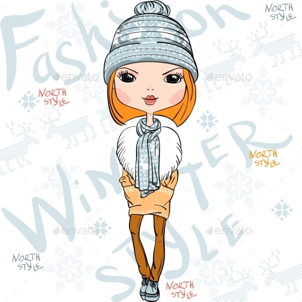 GraphicRiver Fashion Girl in Winter 10006033