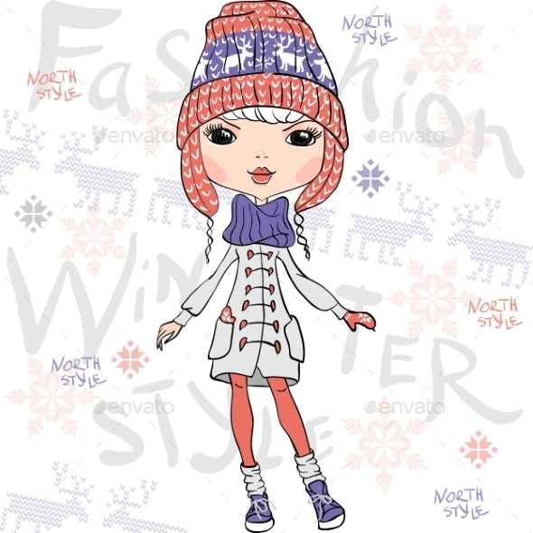 GraphicRiver Fashion Girl in Winter 10006086