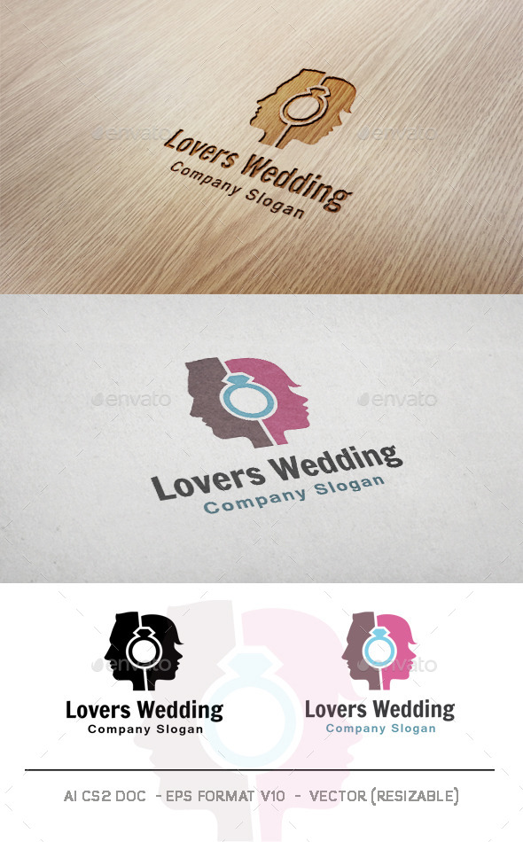 GraphicRiver Lovers Wedding Logo 10007593
