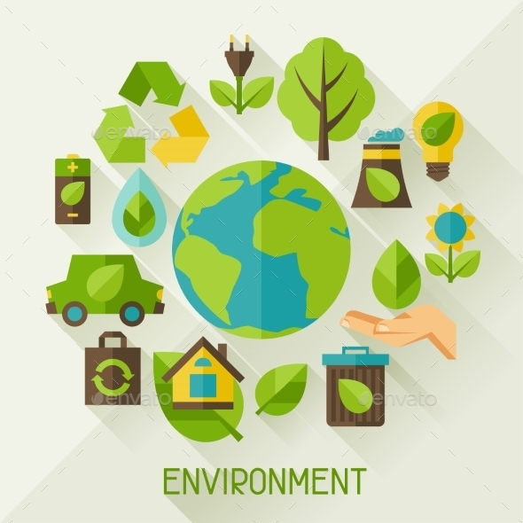 GraphicRiver Ecology Background with Environment Icons 10007947