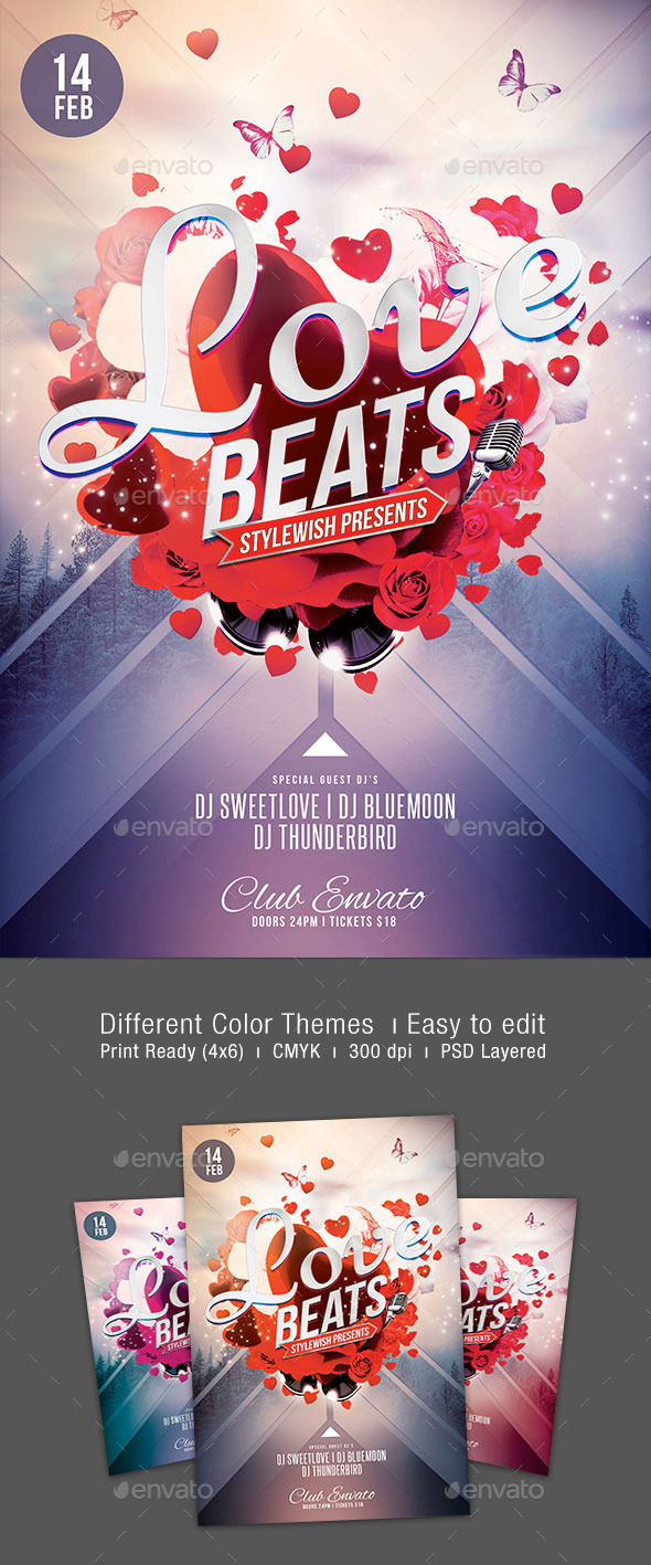 GraphicRiver Love Beats Flyer 10008410