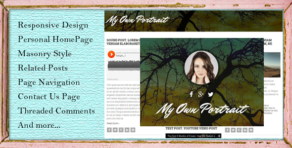ThemeForest My Own Portrait Masonry Style Blogger Template 10008431