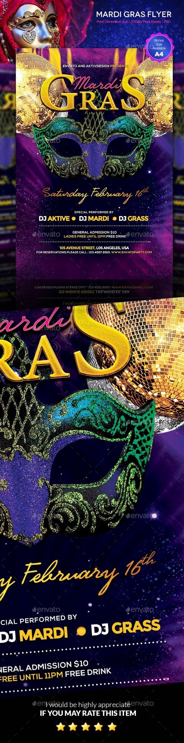 GraphicRiver Mardi Gras Carnival Flyer 9961586