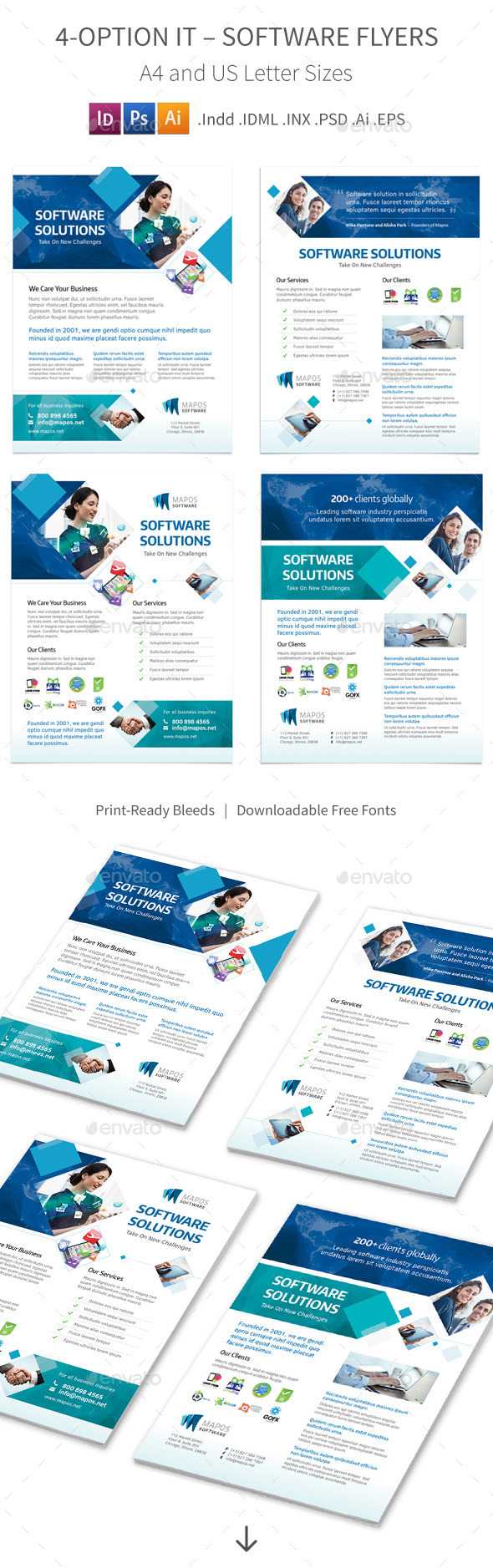 GraphicRiver IT Software Flyers 4 Options 10008671