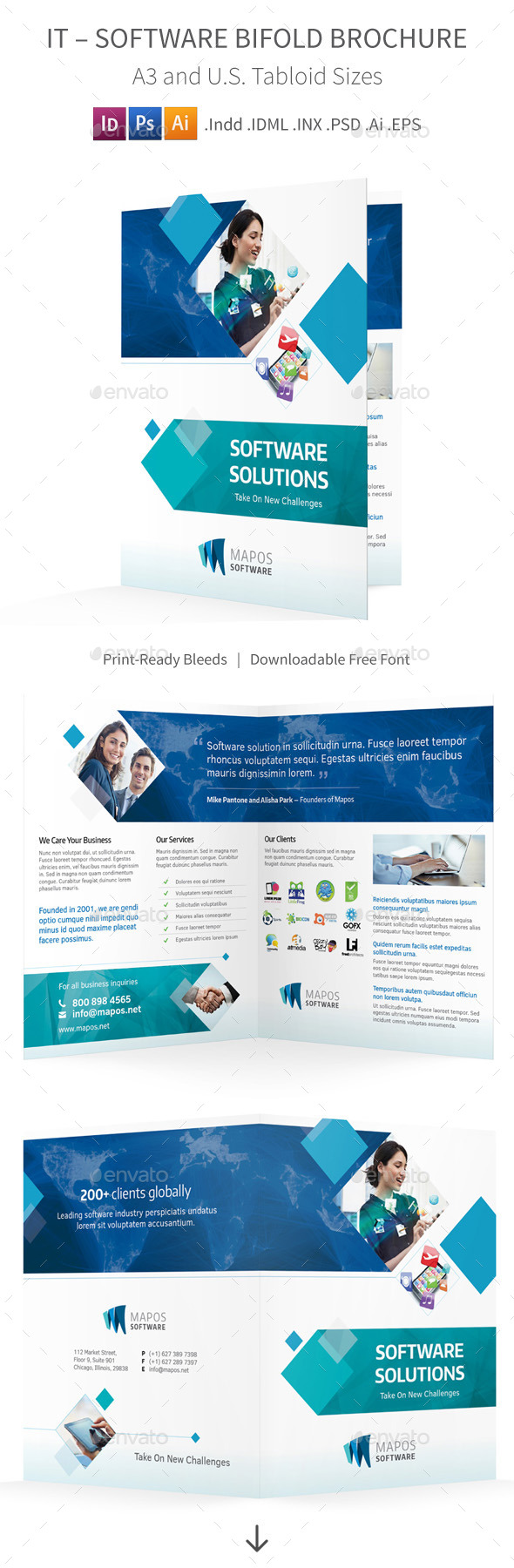 GraphicRiver IT Software Bifold Halffold Brochure 10009760
