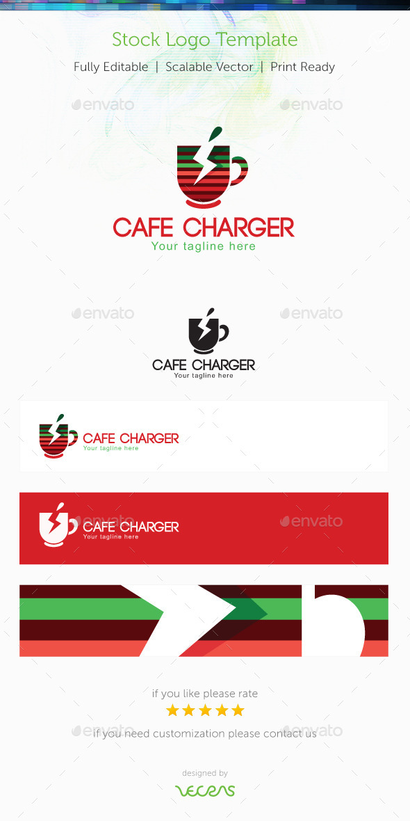 Cafe Charger Stock Logo Template