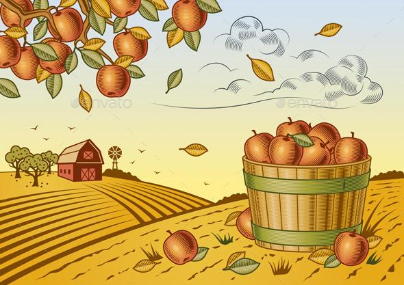 GraphicRiver Apple Harvest Landscape 10010821