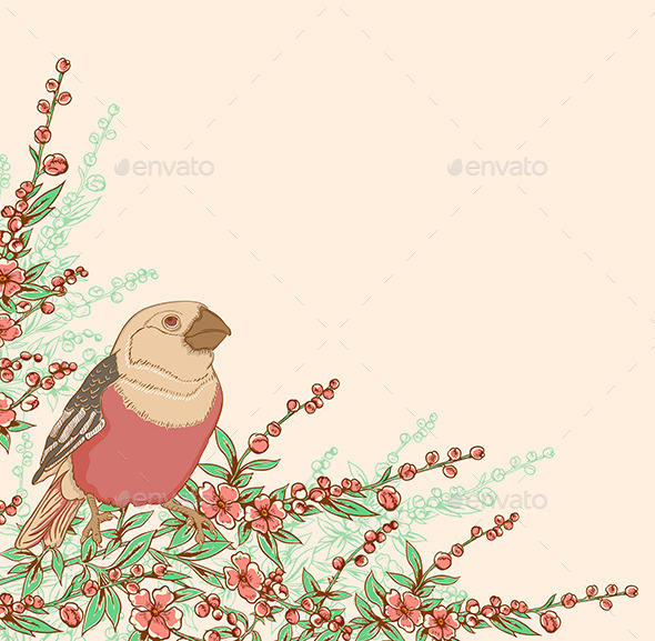 GraphicRiver Bird and Flowering Branch 10010835