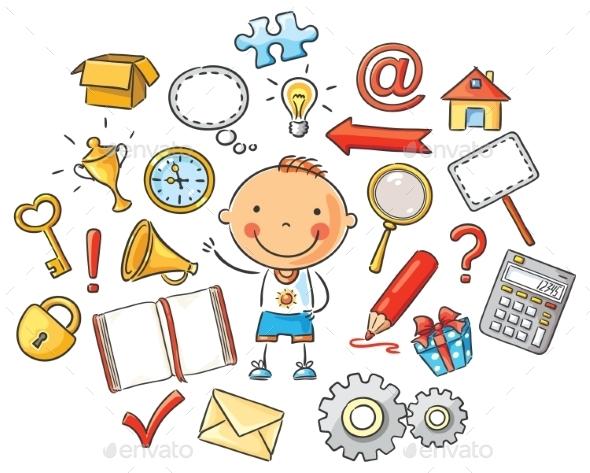 GraphicRiver Cartoon Child with Symbols 10010836