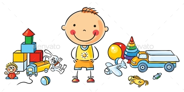 Little Cartoon Boy with Toys