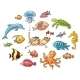 Diver with a Set of Sea Animals - GraphicRiver Item for Sale