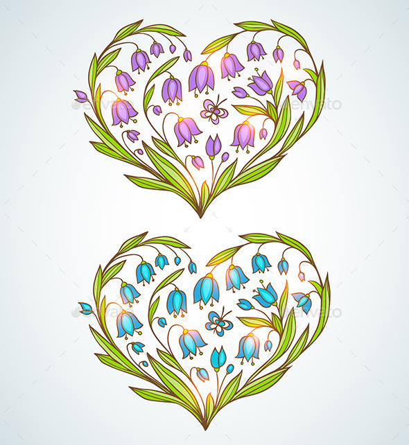 GraphicRiver Blue and Violet Floral Hearts 10010873