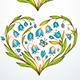 Blue and Violet Floral Hearts - GraphicRiver Item for Sale