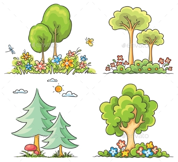 GraphicRiver Cartoon Trees with Flowers 10010925