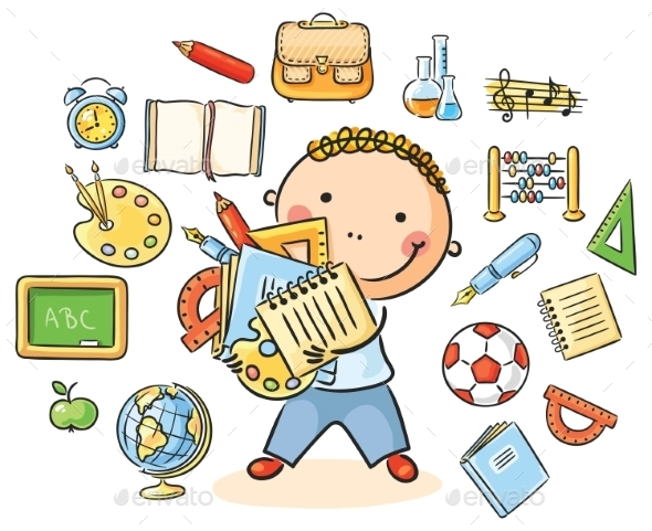 GraphicRiver Boy with School Things 10010927