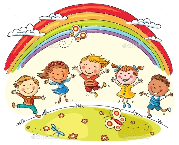 GraphicRiver Kids Jumping with Joy Under Rainbow 10010932
