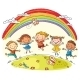 Kids Jumping with Joy Under Rainbow - GraphicRiver Item for Sale