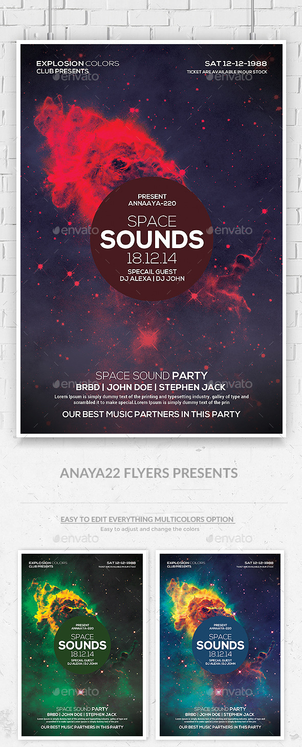 GraphicRiver Space Sound Flyer Template 10010943