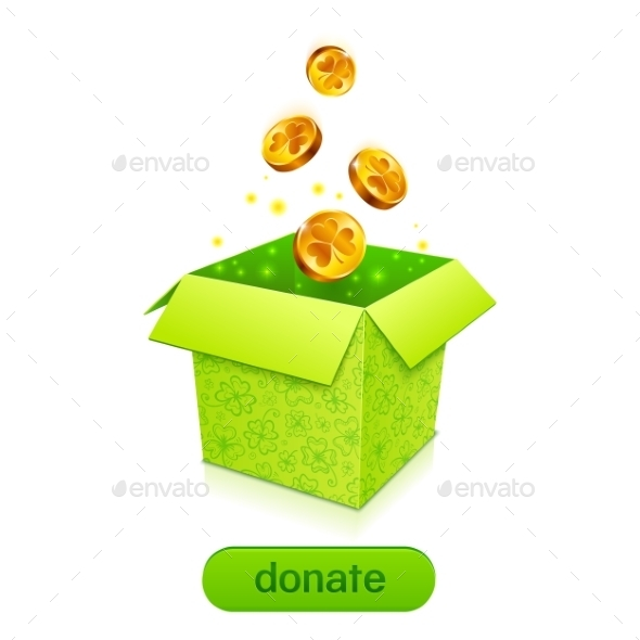 GraphicRiver Green Donation Box with Golden Fallen Coins 10010967