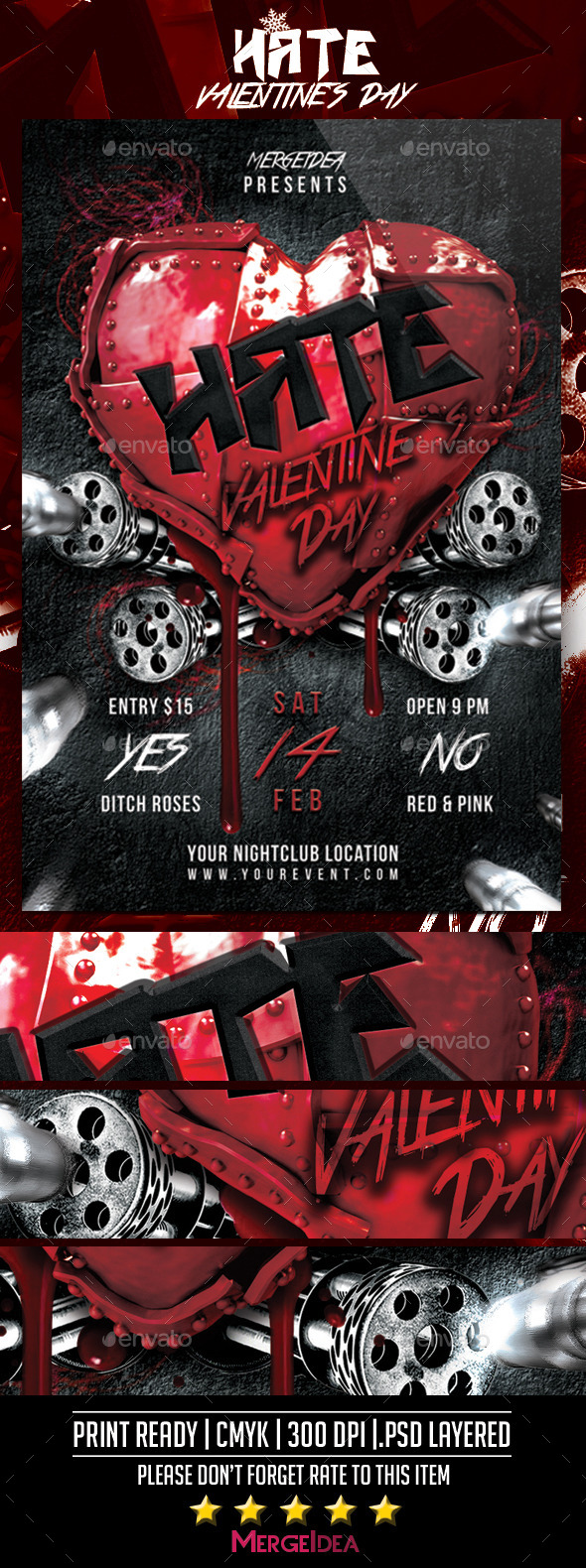 GraphicRiver Hate Valentines Day Party Flyer 10011010