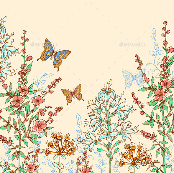 GraphicRiver Floral Background with Butterflies 10011225