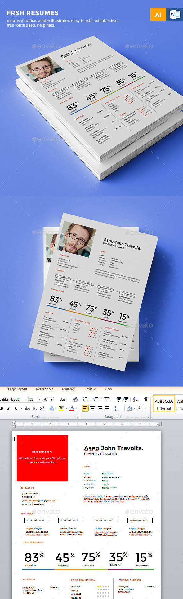 GraphicRiver Fresh Resume CV 10011289