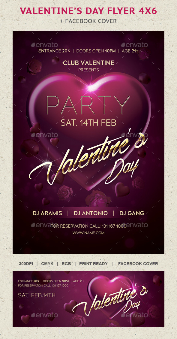 GraphicRiver Heart Valentine's Day Flayer Party 10011357