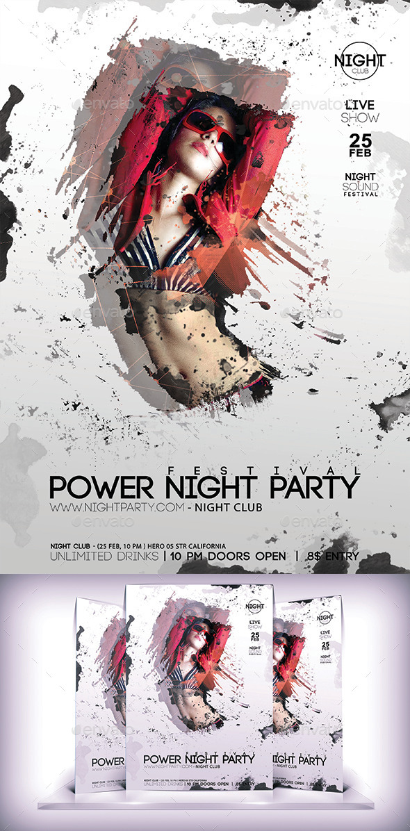 GraphicRiver Power Night Party Flyer 10011929