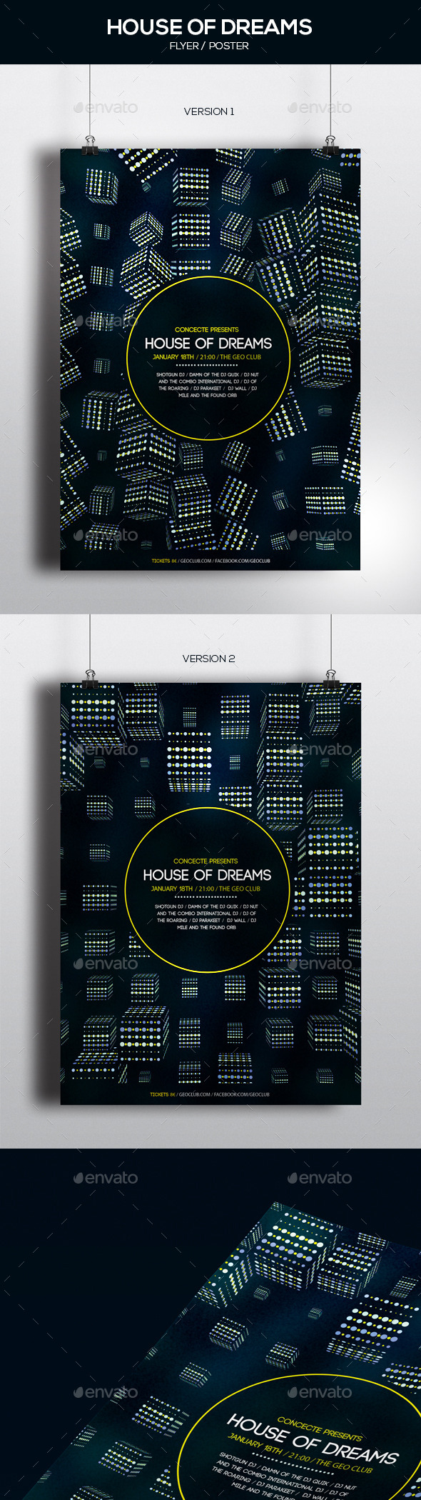 GraphicRiver House of Dreams Party Poster 2 Versions 10012135