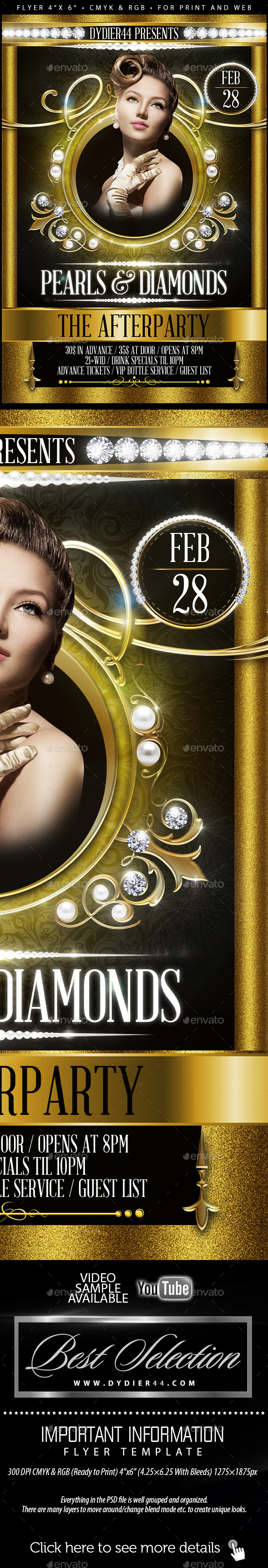 Pearls & Diamonds Flyer Template 4x6