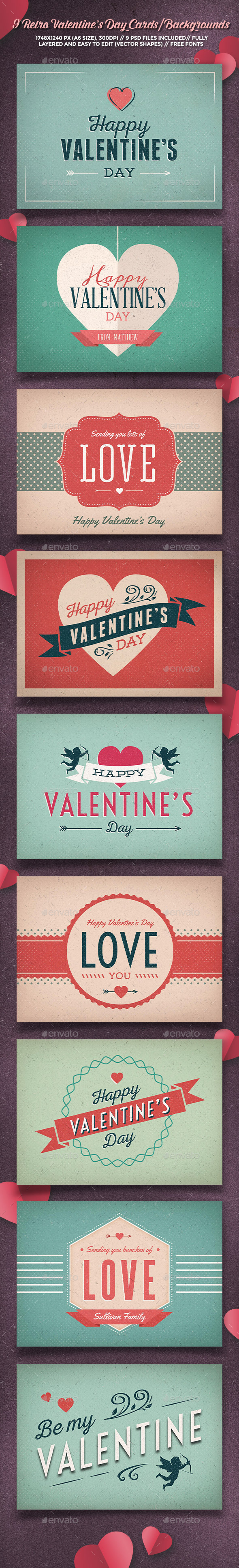 GraphicRiver 9 Retro Valentine's Day Cards Backgrounds 10012586