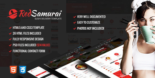 ThemeForest Red Samurai HTML5 and CSS3 Responsive Template 10012709