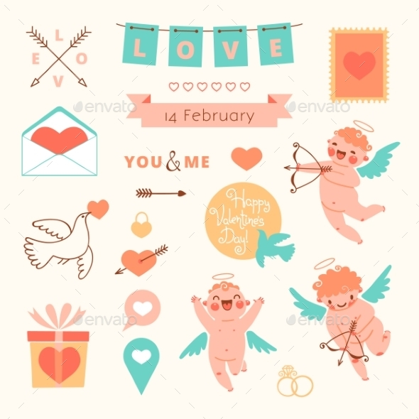 GraphicRiver Valentines Day Set of Elements for Design 10013194