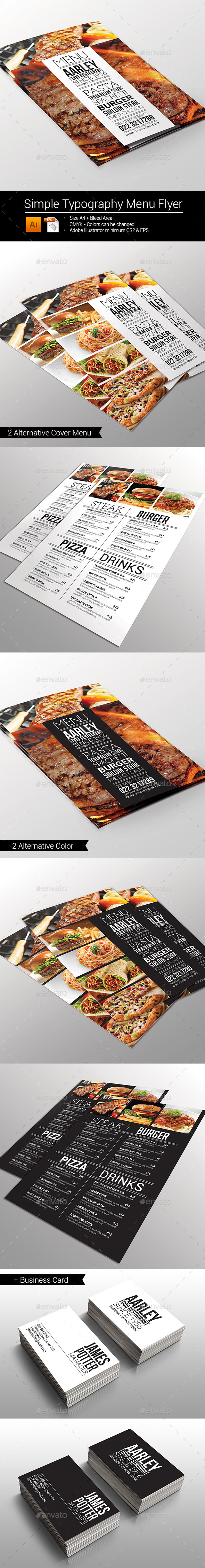 GraphicRiver Simple Typography Menu Flyer 10013533