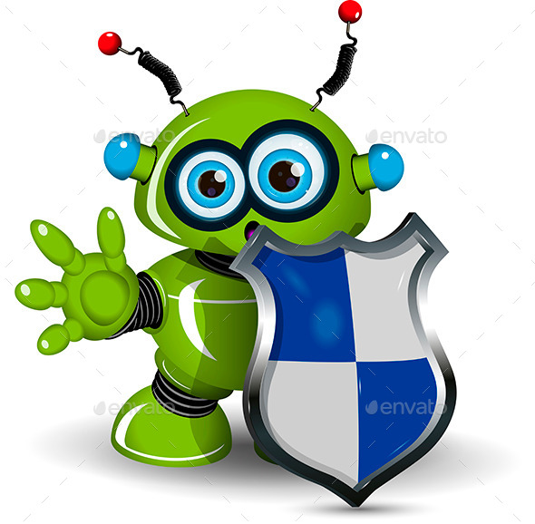 GraphicRiver Robot with a Shield 10014138