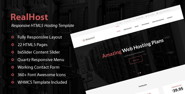 ThemeForest RealHost Responsive HTML5 Hosting Template 9982319