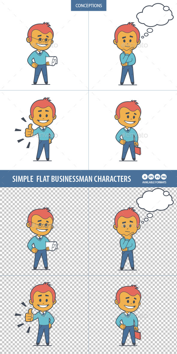 GraphicRiver Four Flat Businessman Characters 10014420